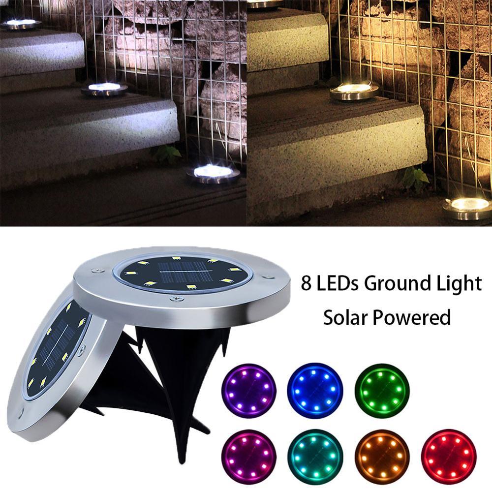 Multi-use Solar Powered Ground Light 4/8 LED Outdoor Path Light Spot Lamp Yard Garden Lawn Landscape Waterproof
