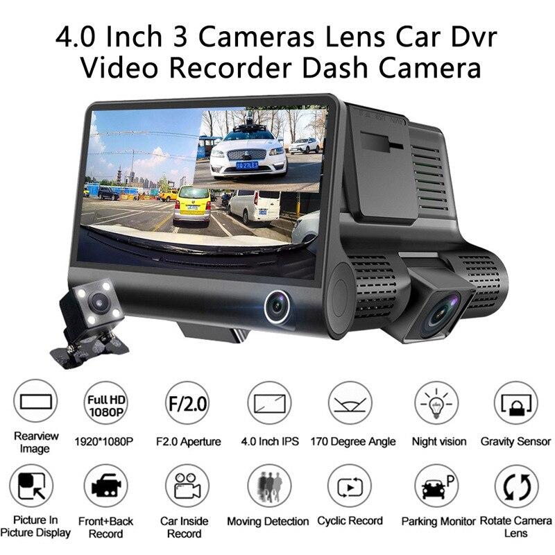 4 дюймовый HD Автомобильный видеорегистратор с 3 объективами с G-датчиком WDR видеокамера видеорегистраторы