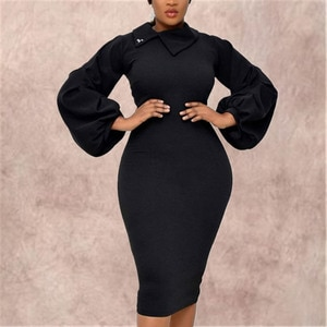 Women Bodycon Dress Long Lantern Sleeve Slim Fashion Modest Classy Elastic Large Size Office Ladies African Female Vestidos New