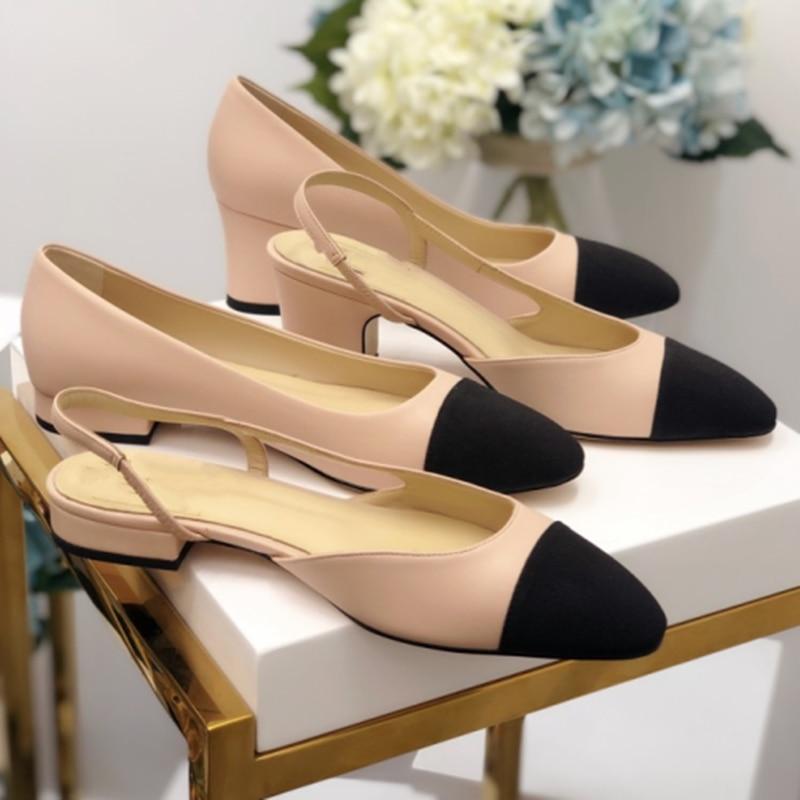 Moda desinger bombas femininas de couro genuíno sapatos femininos dedo do pé redondo rasas bombas