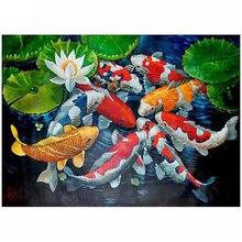 Diy الماس اللوحة حجر الراين كوي الأسماك الذهبية 5D الماس التطريز الأسماك الانتقال فسيفساء الماس كامل مربع حجر مستدير AA118