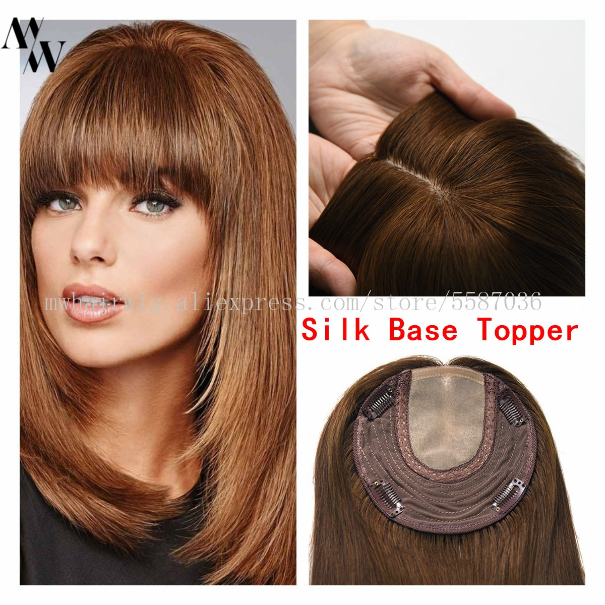MW 6*6.5 Natural Straight Human Hair Topper Wig For Women Silk Base With Clips In Hair Toupee Remy Hairpiece 20