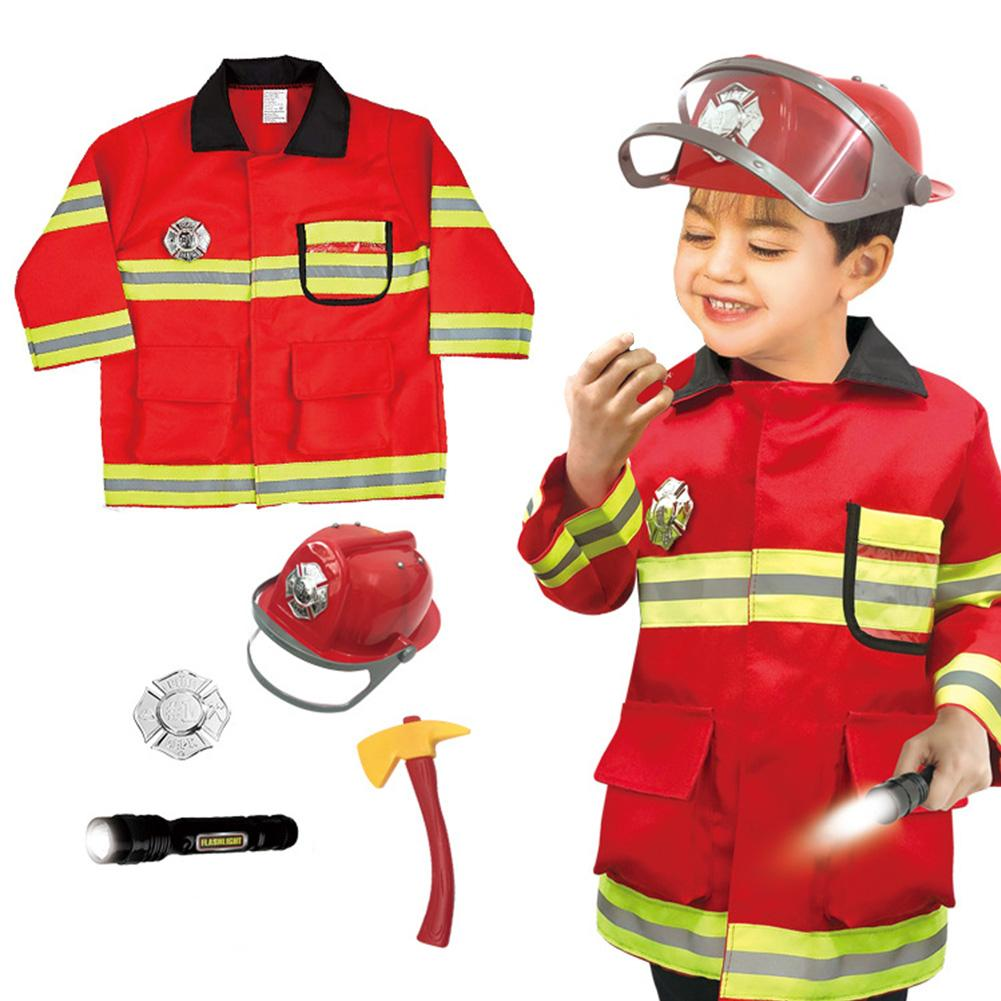Children's Firefighter Suit Role-playing Props Holiday Fireman Costume Fire Flashlight Cap Toy For Kid Pretend Role Play недорого