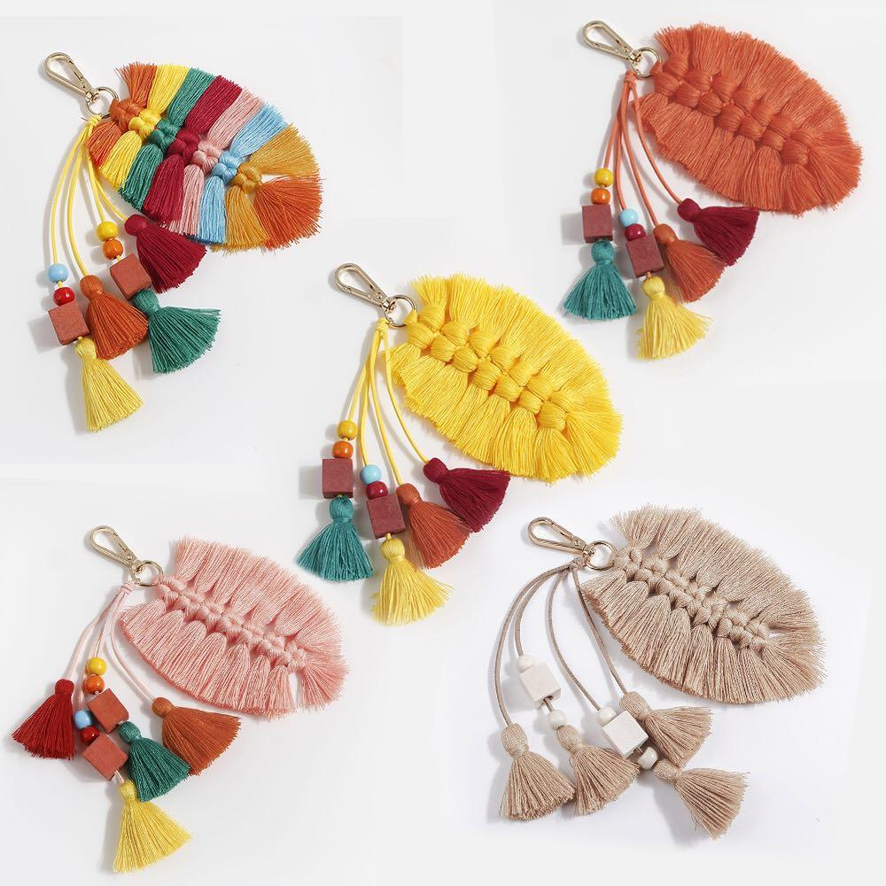 Nórdico Indiana Boho decoración bolsa colgante adornos Color hecho a mano borla cuentas bolsa colgante llavero decoración de habitación
