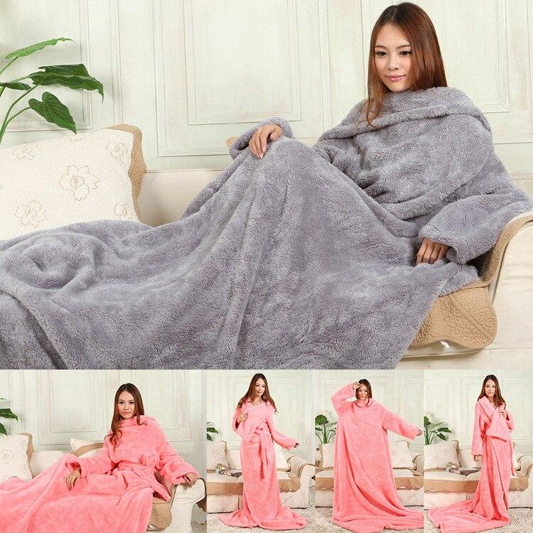 الشتاء سميكة الأكمام بطانية مكتب قيلولة متعددة الوظائف كسول بطانية يمكن ارتداء كم بطانية الجسم كله لحاف بطانية