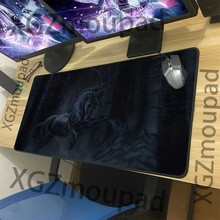 XGZ grand tapis de souris de jeu noir bord de serrure personnalisé Animal cheval bureau ordinateur tapis de bureau en caoutchouc antidérapant 900x400/900x300 Xxl