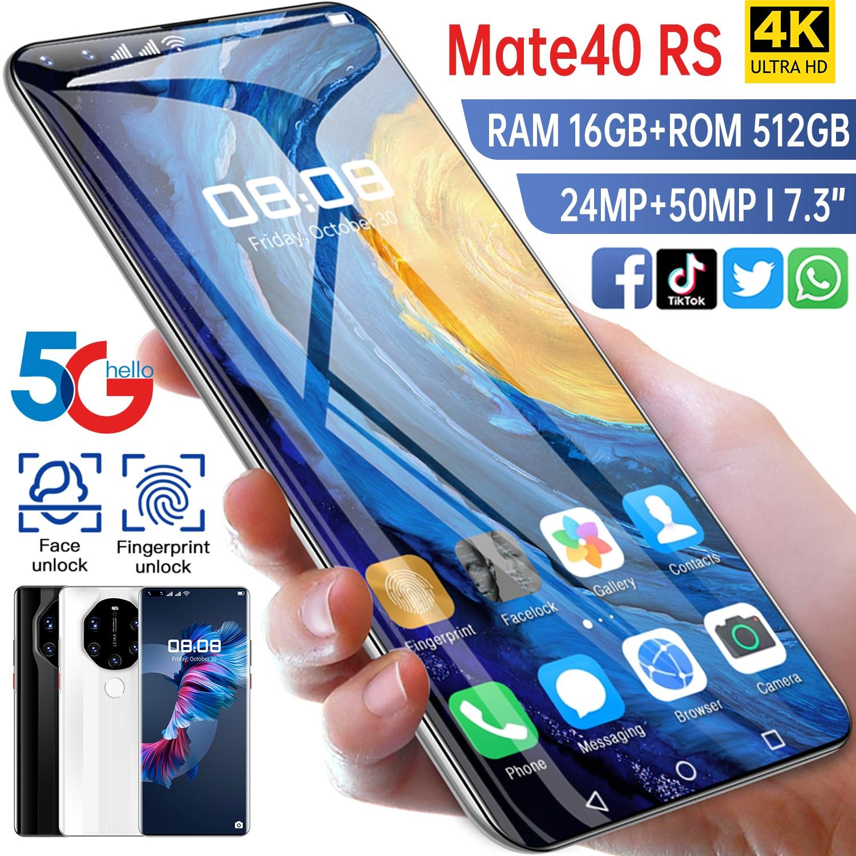 الهاتف الذكي الإصدار العالمي HUAWE Mate40 RS شاشة كاملة 7.3 بوصة معالج عشاري النواة 6800mAh 16GB 512GB 4G LTE 5G شبكة الهاتف المحمول