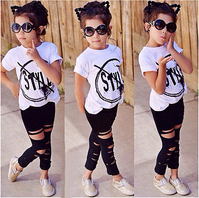 Kids Girls Clothes Set Baby Girl Summer Short Sleeve Print T-Shirt + Hole Pant Leggings 2PCS Outfit Children Clothing Set