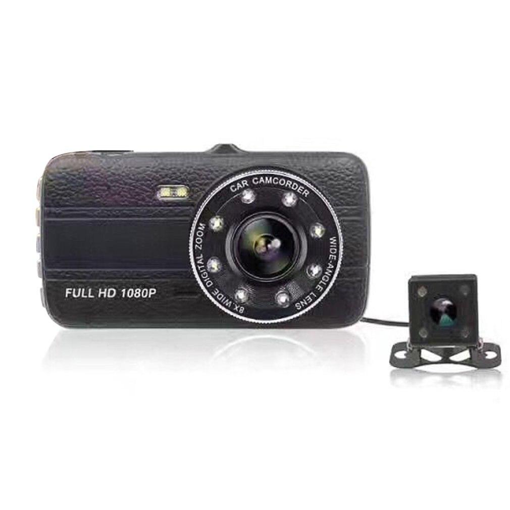 Grabadora de vídeo de coche Full HD 1080P, cámara de 4 pulgadas con doble lente, visión nocturna, Sensor de movimiento, grabadora de datos DVR para coche