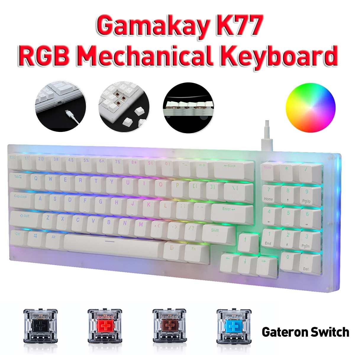 لوحة مفاتيح الألعاب الميكانيكية Gamakay K77 77 مفاتيح قابلة للتبديل مزودة بمفتاح Gateron سلكي RGB Tyce-C قاعدة زجاجية شفافة 32K ROM