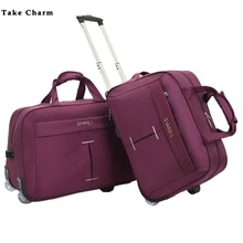 Simple Large Capacity Wheel Trolley Bag Ladies Aircraft Bag Men's Foldable Portable hand Travel Bag Multi-function/Black Purple