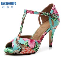 Femmes Argentine Tango Satin chaussures de danse femme en cuir véritable semelle à talons hauts sandales Gilr Samba Latino salsa-danse-chaussures EU35-42