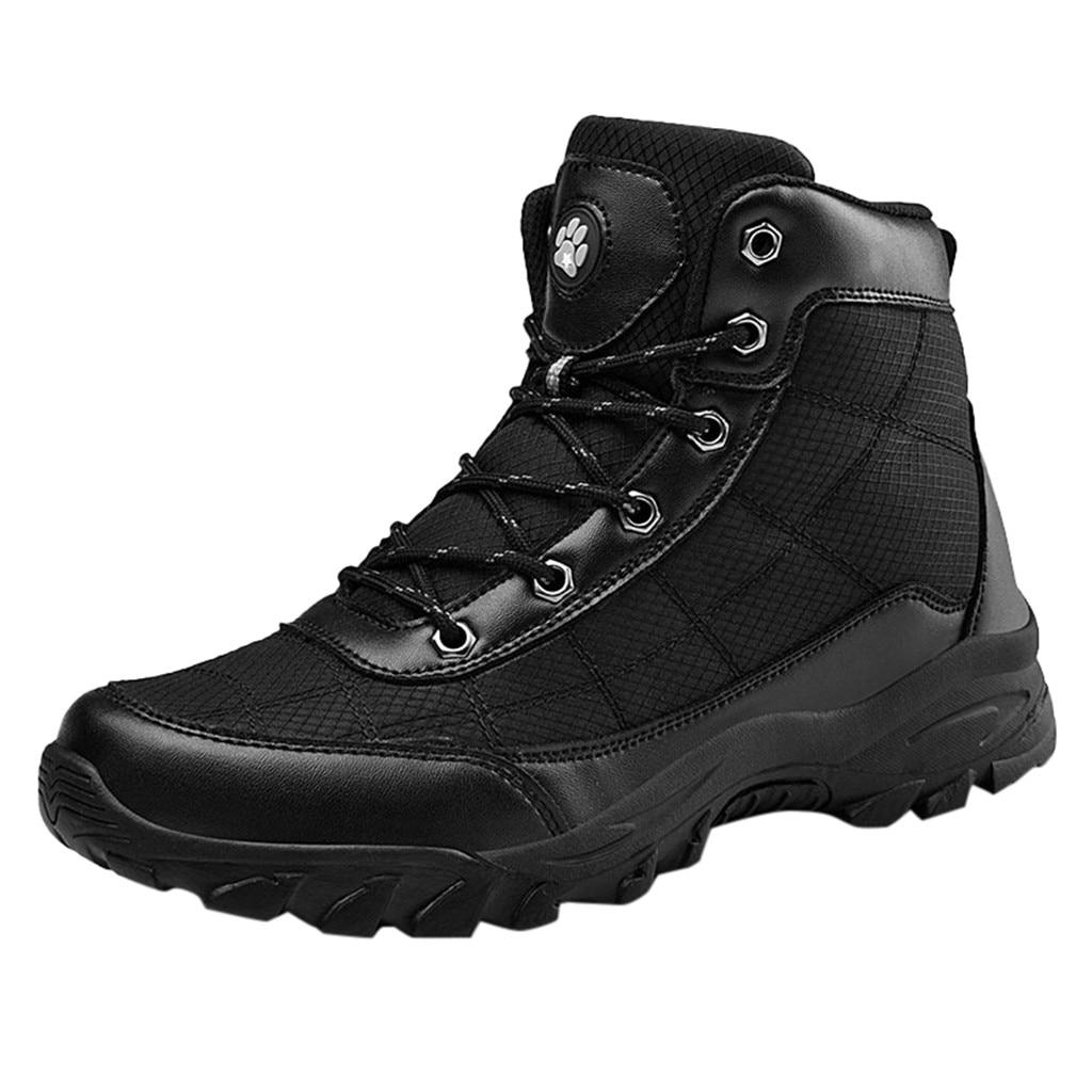 Invierno más terciopelo cálido zapatos de algodón para hombre de gran tamaño antideslizante al aire libre senderismo choque hombre zapato alto- chussure Homme de absorción superior