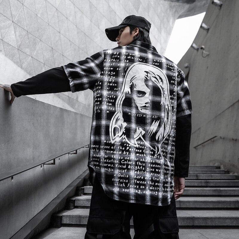 Новая Осенняя коллекция 2020 года, модные мужские рубашки в клеточку с длинным рукавом и принтом в стиле пэчворк, Повседневная модная уличная ...