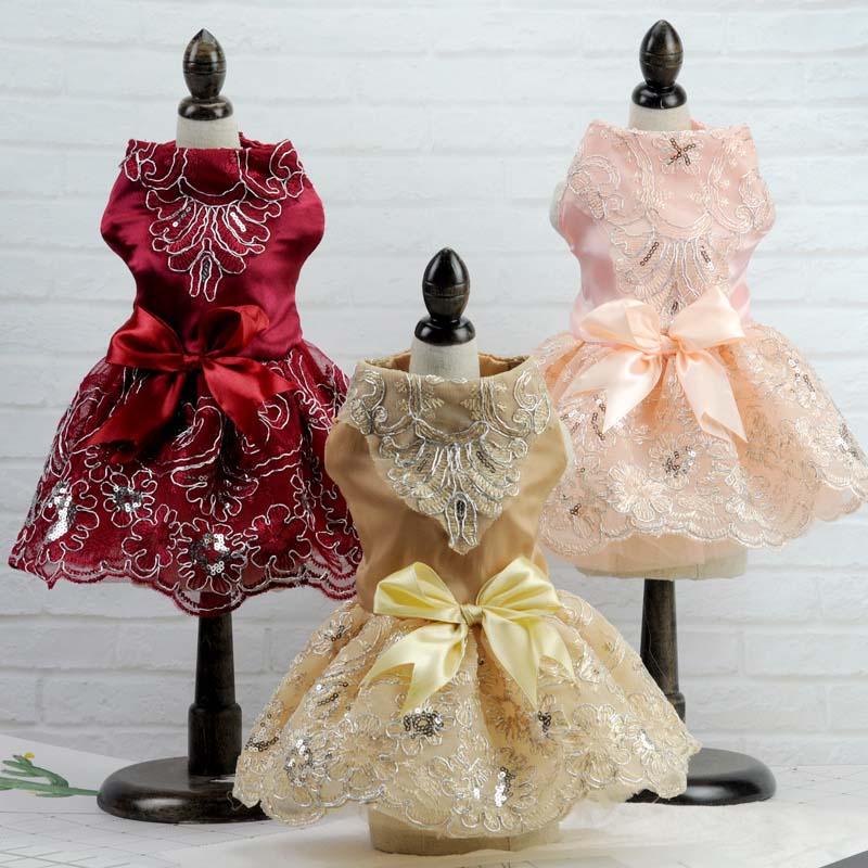 Vestido de Boda de Princesa de lujo bordado para perros, ropa para perros, disfraz de primavera y verano para cachorros y gatos, falda tutú, ropa para Mascotas