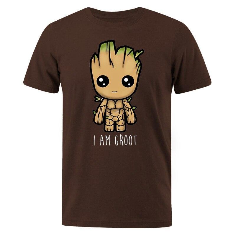 Хлопковая футболка I Am Groot, мужские повседневные футболки в стиле хип-хоп, уличная Мужская футболка с милым принтом, летние мужские брендовые футболки
