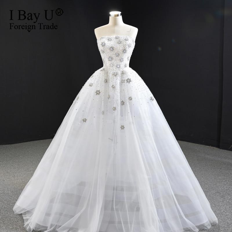 Increíble vestido De Novia De perlas De princesa De cristal 2020 playa Bohem Gelinlik capilla tren forma De estrella Vestidos De Novia Modesto