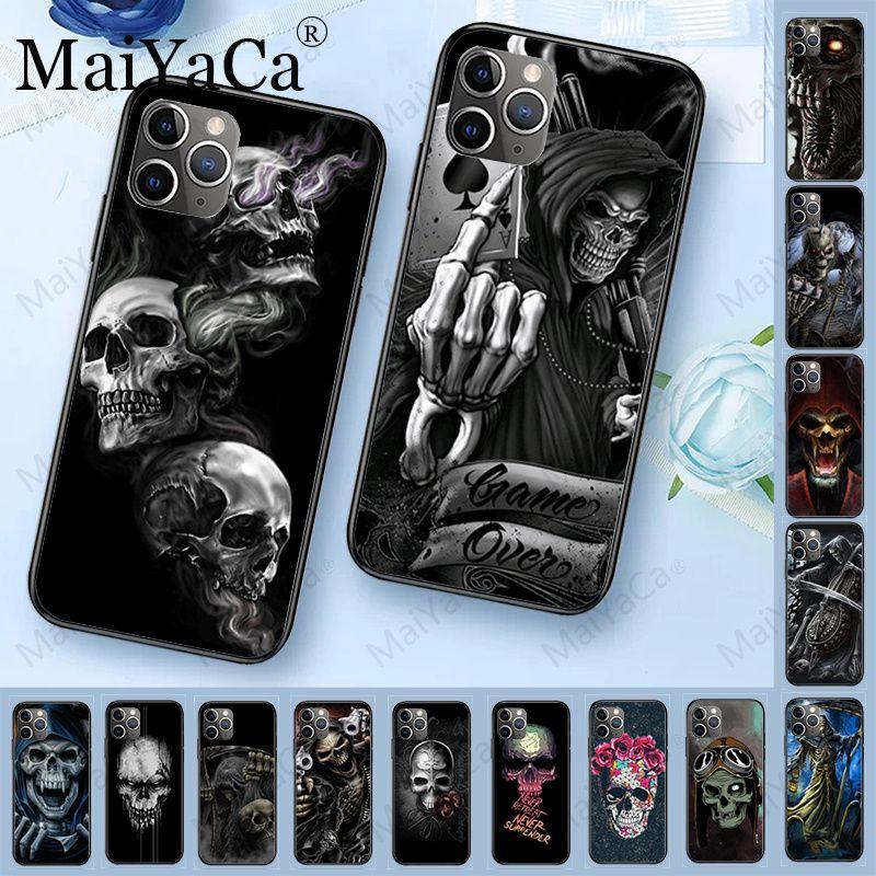 MaiYaCa parca calavera esqueleto de lujo híbrido teléfono carcasa para iPhone 6S 6plus 7 7plus 8 8Plus X XS MAX XR 5 5S 11pro max funda