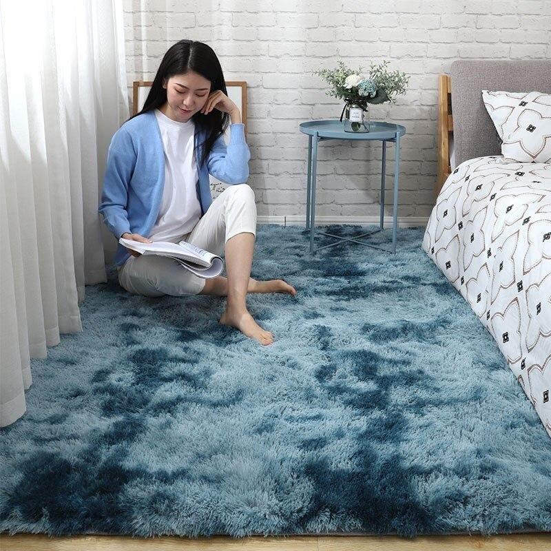 Bedroom Carpet Pink Tie-dyed Soft Fluffy Lounge Floor Rugs For Girl modern Living Room Center Carpets Non-slip Entrance Door Mat