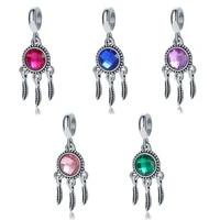 new fashion opal dream catcher pendant diy beads suitable for original pandora charm bracelet ladies jewelry making gifts