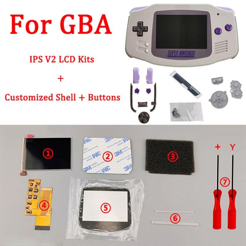 SNES-مجموعة استبدال شاشة IPS V2 LCD لـ GBA ، مبيت مقطوع مسبقًا ، أصلي ، تمويه ، لـ GAMEBOY ADVANCE ، جديد