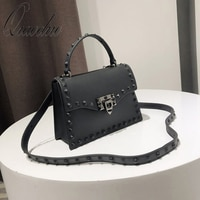 Qiaoduo Jelly bags for women retro fashion handbags solid flap shoulder diagonal rivets small square bag lady high quality bags