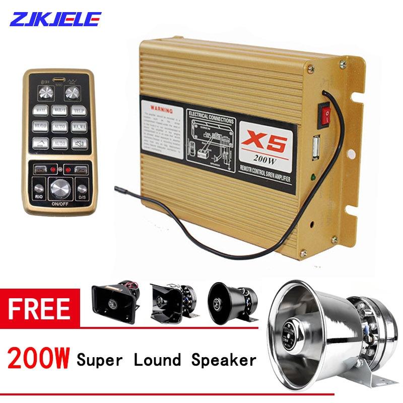 12V/24V 200W Amplifier Police Warning Siren Host 9 Sound Car Truck Alarm Fire Speaker Handheld Microphone Emergency PA System