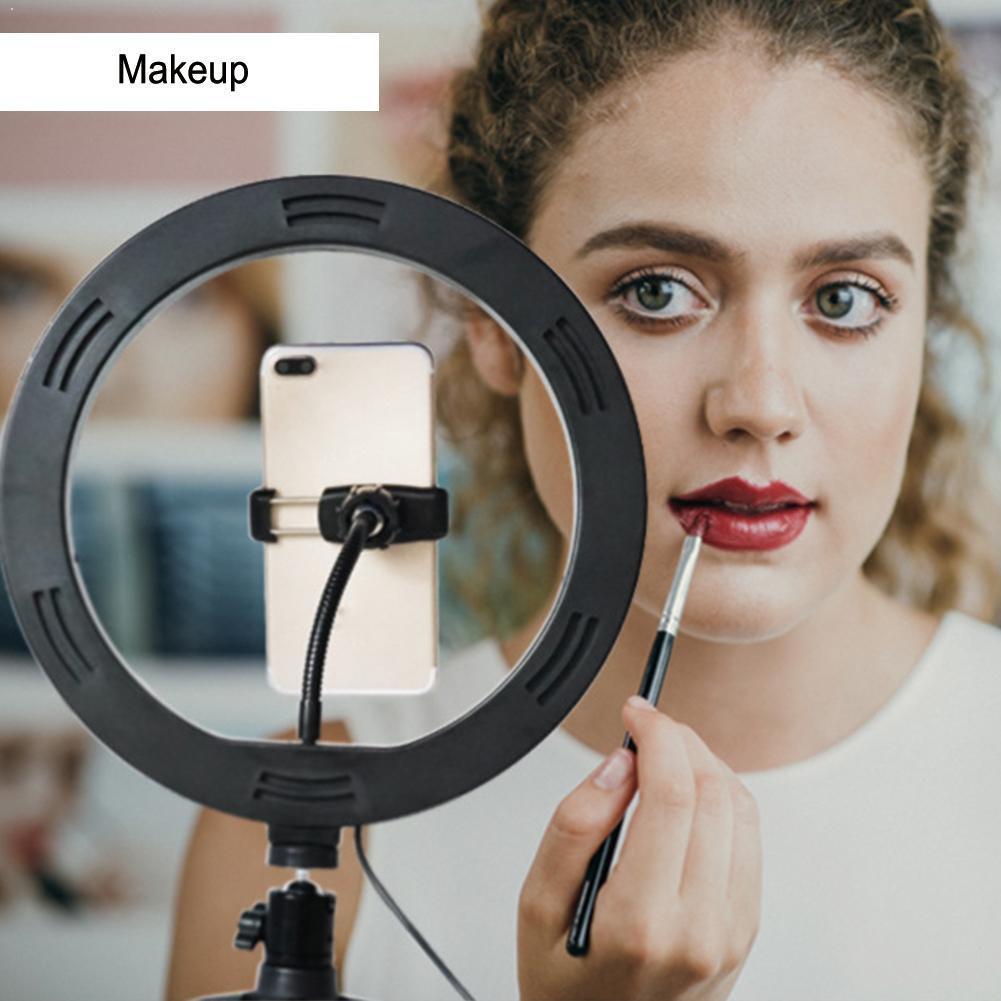 10 Cal Mini kamera jasna lampa LED Selfie lampa pierścieniowa uchwyt makijaż dla wideo telefon stojak statyw fotografia N0B9