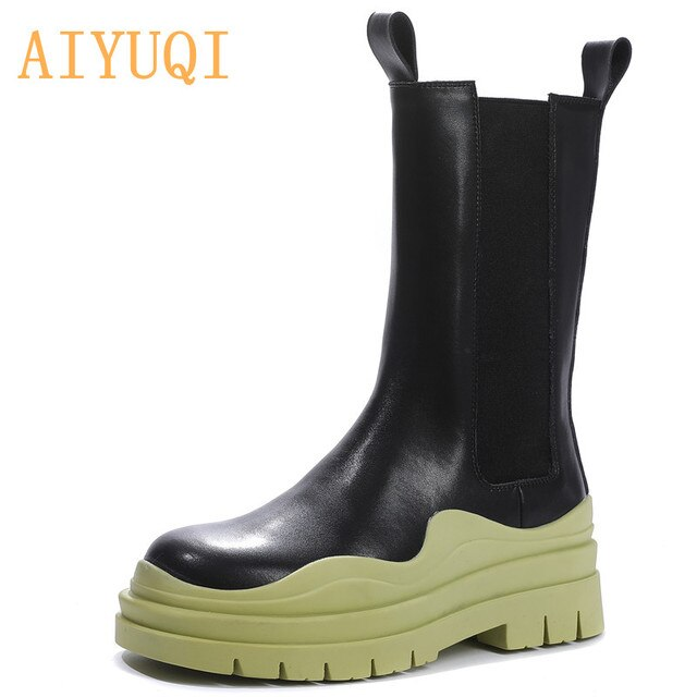 AIYUQI Chelsea Boots Women Genuine Leather New Luxury Ankle Boots Girl Autumn Winter Shoes Platform Slip On Martin boots Women