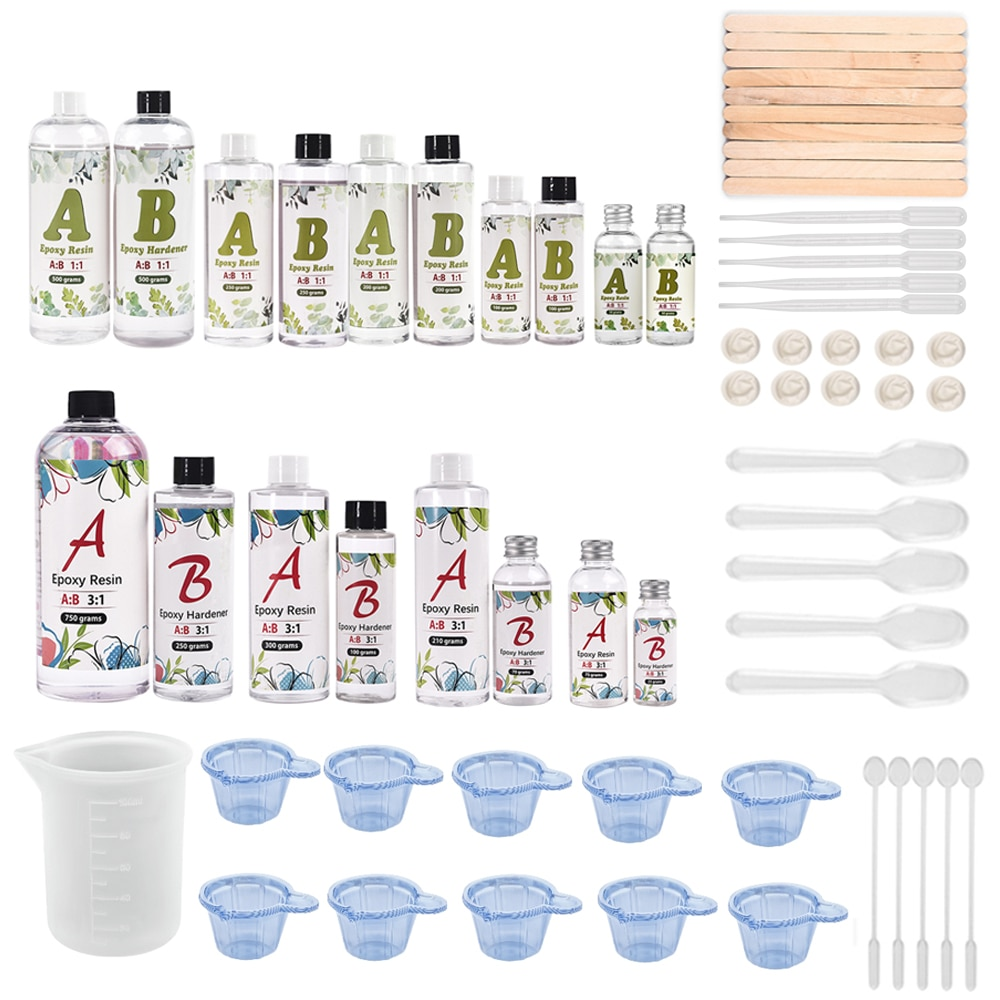 Crystal Epoxy AB  Resin Glue Small Bottle 1:1 3:1 AB Glue With Free Gift 1 Set Resin Molds Making Tools Starter Set