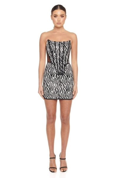 CY Fashion Women Mini Sexy Rayon Bandage Dress Elegant Bodycon Tube zebra-stripe dresses Nightclub E