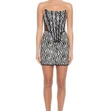 CY Fashion Women Mini Sexy Rayon Bandage Dress Elegant Bodycon Tube zebra-stripe dresses Nightclub E