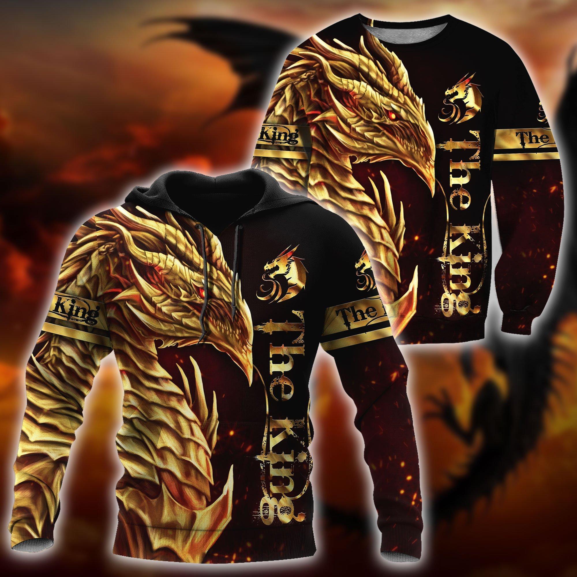 2021 осенние модные толстовки с капюшоном с красивым рисунком дракона Короля толстовки унисекс пуловер на молнии Повседневная Уличная одежд...