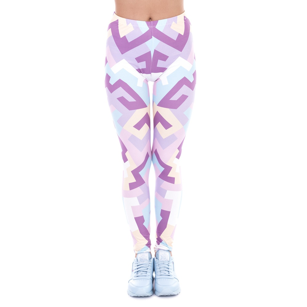 Фото - Pink Printing Legging Fashion Elegant High Waist Woman Slim Stretch Spring Women Legins Geometric Shapes Exercise geometric spring
