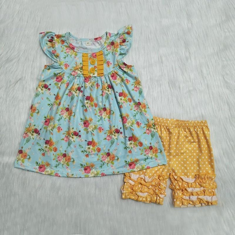 2019 Dropshipping conjuntos de ropa para niñas y bebés bonitos 2 piezas de ropa con estampado de flores y pantalones cortos