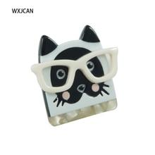 Acrylique lunettes chat broche broche femmes fille bijoux mode mignon cadeau WXJCAN