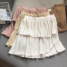 Elegant College Solid Color High Waist Slim Pleated A- line Skirt Temperament Female Fashion New Cas