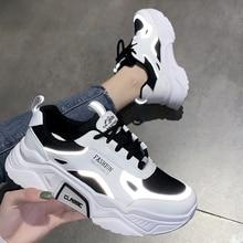 Reflective Women Shoes Chunky Sneakers Women Vulcanize Shoes Thick Bottom Platform Shoes Women Dad Shoes Basket Femme Krasovki
