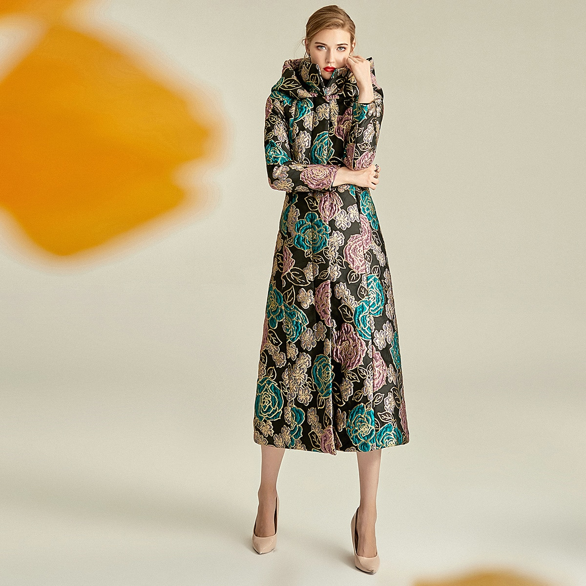 Новинка 2020, женские пальто, зимняя жаккардовая Женская куртка выше колен с воротником-стойкой, толстая хлопковая куртка Sustans, стандартная па...