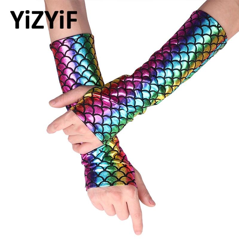 YiZYiF Mermaid Arm Sleeves Glove Fish Scale Pattern Printed Fingerless Long Gloves Arm Sleeves Adult Halloween Costume Accessory