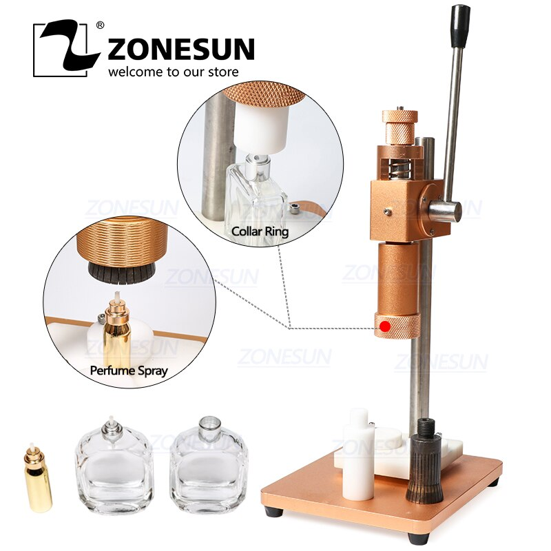 ZONESUN Dual Use Manual Perfume Bottle Crimping Machine For Sprayer Collar Ring Metal Cap Pressing Capping Machine 13/15/18/20mm