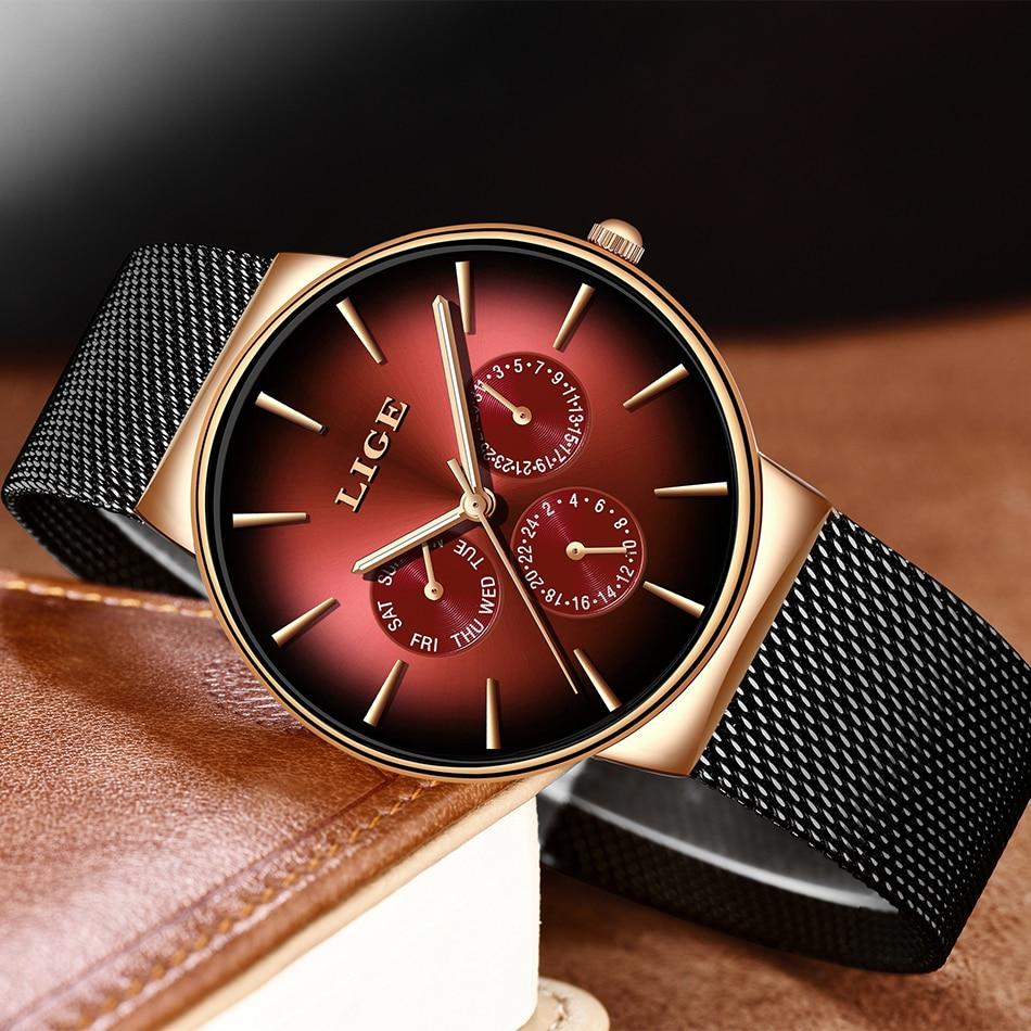 LIGE New Fashion Women Watches Top Brand Luxury Quartz Watch Women Mesh Steel Waterproof Ultra-thin Wristwatch For Women Clock enlarge