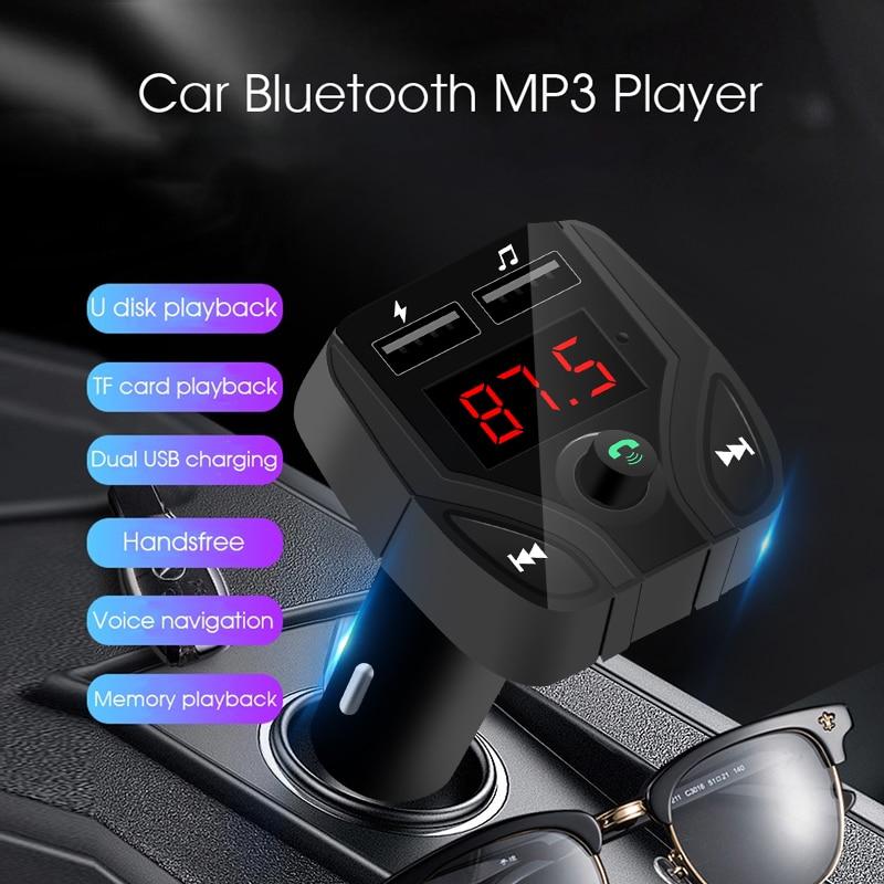 Kit de manos libres para coche, transmisor FM con Bluetooth, reproductor de...