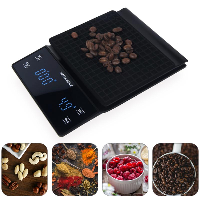 3kg 0.1g Coffee Drip Scale Digital Scale Mini Digital LED Display With Timer Kitchen Jewelry Scales