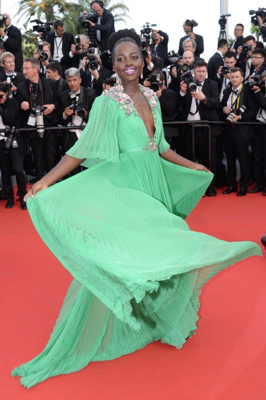 Lupita Nyong'o-vestido elegante Formal para mujer, vestido de media manga con cuello...