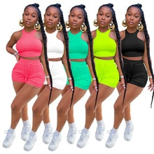 Adogirl Women Solid Two Piece Set Summer Tracksuit Sleeveless Vest Crop Top Lace Up Elastic Waist Sh