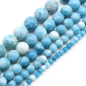 AAA Natural Sky Blue Stone China Larimar Round Loose Spacer Beads Strand For Jewelry Making DIY Bracelet Necklace 6/8/10/12mm