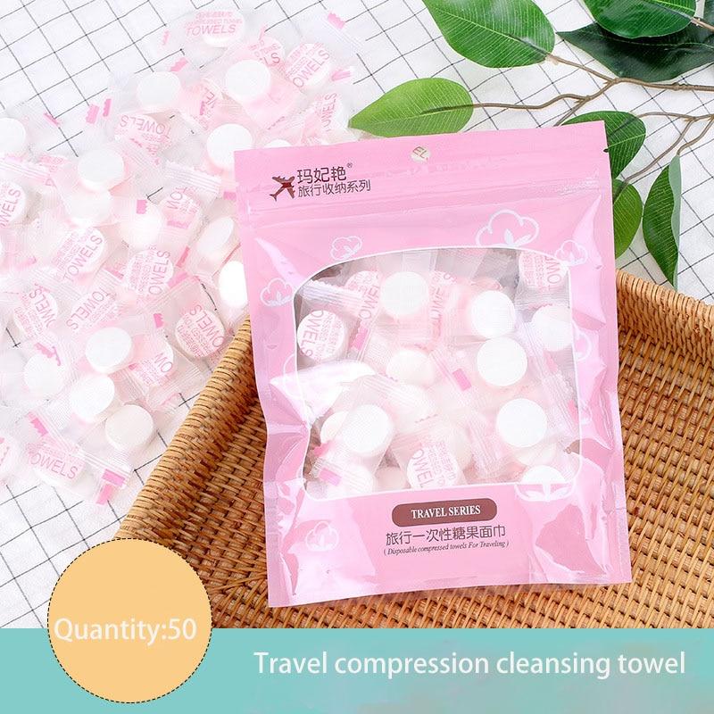 50 Pcs Compressed Wash Towel Travel Disposable Cleansing Towel Non-woven Mesh Wash Towel Cotton Towel недорого