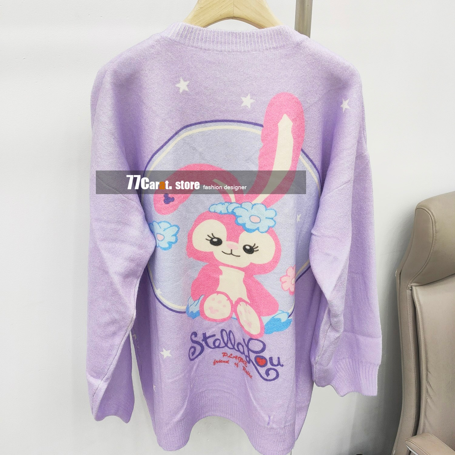 2021 autumn woman fashion high quality beading wool sweater cute rabbit jacquard purple sweaters jumper pullover casual clothes enlarge