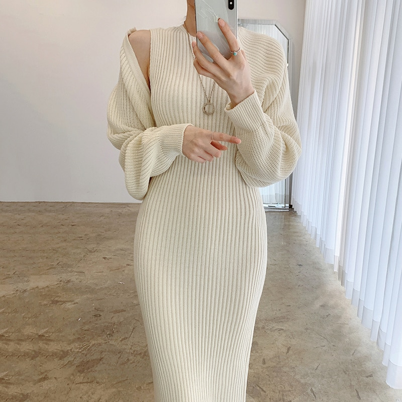 Dresses Korean Chic Autumn And Winter Temperament Round Neck Vest Knitted Dress Loose Short Shawl Coat Two-piece Set Women